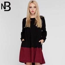 2016年秋装欧美版新款圆领宽松型撞色拼接长袖女连衣裙针织毛衣