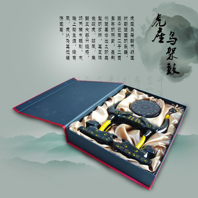 湖北特色礼品 荆楚文化漆器虎座鸟架鼓摆件 商务接待送外宾礼品