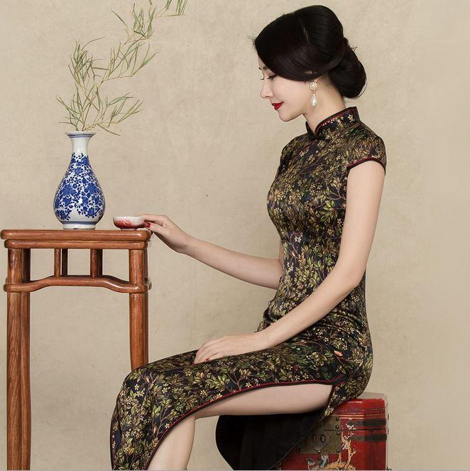 复古优雅长款真丝旗袍连衣裙短袖高开衩桑蚕丝长旗袍8743一件代发