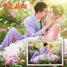 华艺品陶 微晶瓷砖婚纱照相框 婚纱照订做16 24 36 42寸婚纱照微晶薄板相框 微晶石全家福