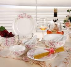 厂家直销 16头陶瓷餐具 盘碗勺 家用餐具套-017