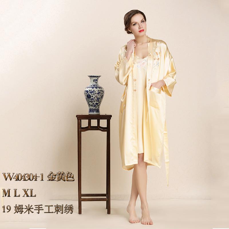 四川顺成纺织品真丝睡衣夏两件套 性感睡裙桑蚕丝女士睡袍套W404304