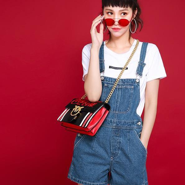 2017夏装新款韩版减龄学生牛仔背带短裤热裤女