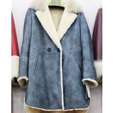 瑞生 羊绒羊剪绒大衣羊羔毛皮毛一体外套皮草外套女款 阳原毛皮
