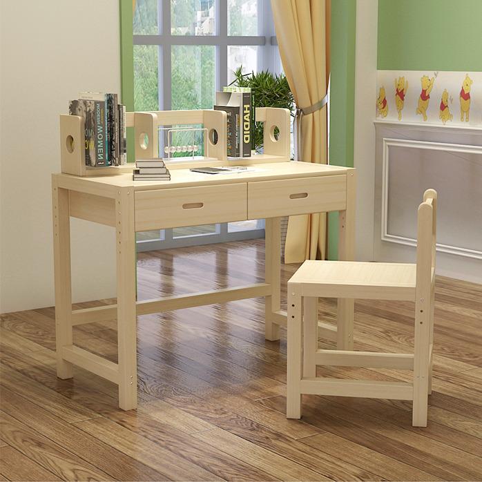 实木儿童学习桌书桌可升降桌椅套装组合书架学生写字桌台式桌书桌