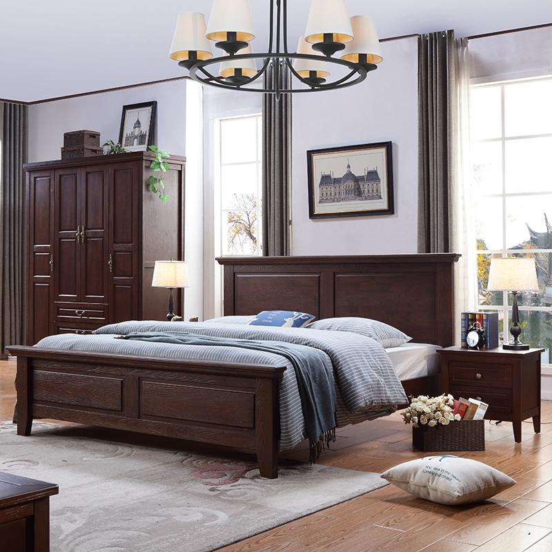 美式乡村实木1.8米欧式婚床家具现代简约1.5公主橡木卧室双人床