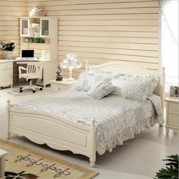 韩式简约白色实木卧室高箱储物床