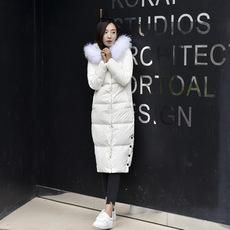 2017年秋冬新款女士韩版潮羽绒服修身长袖拉链加厚有毛领连帽外套