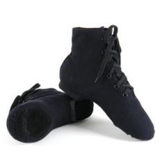 芭蕾爵士民族黑色舞蹈练功鞋 高帮软底跳舞靴