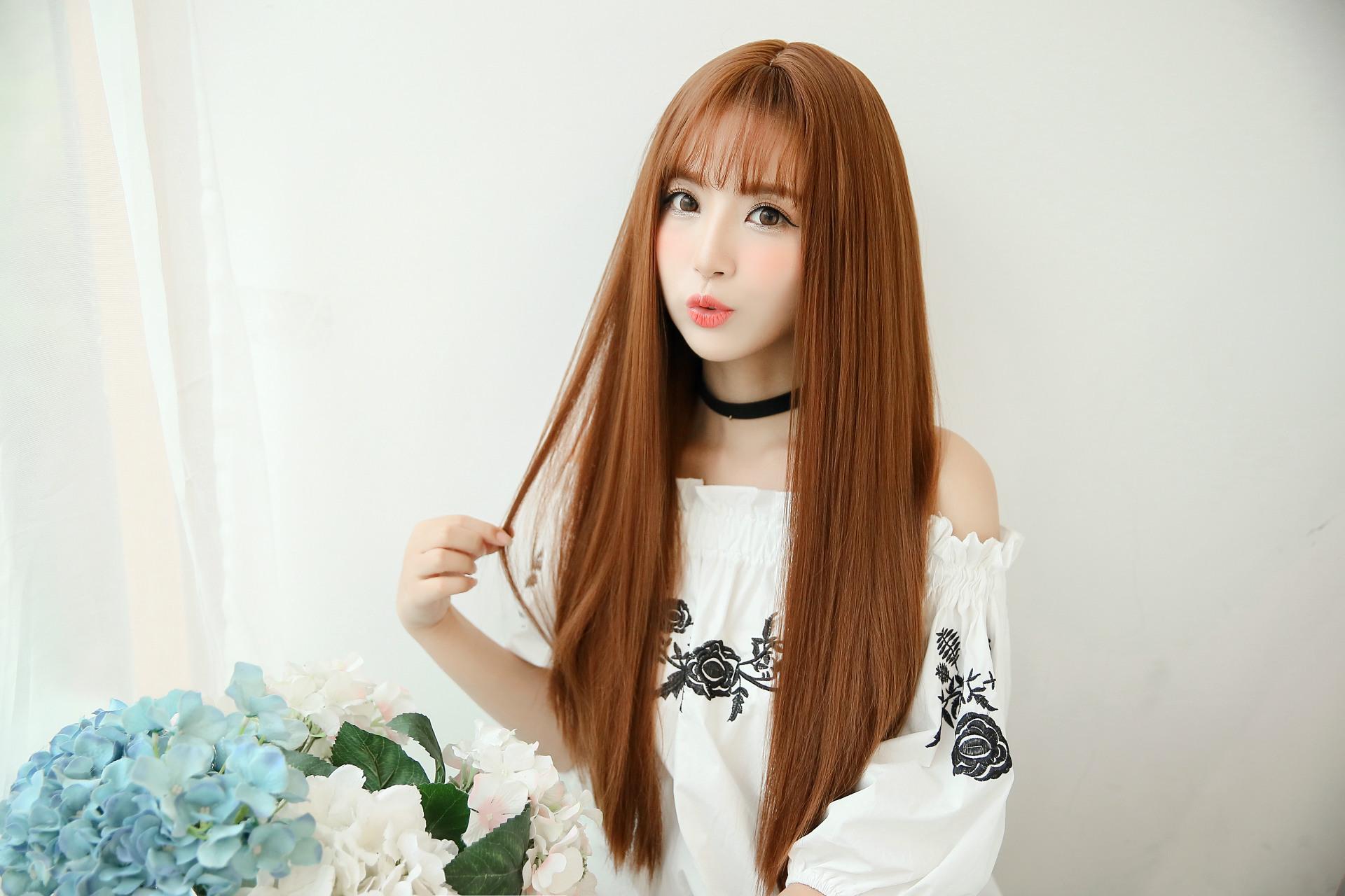 【蛋白丝假发女 热销空气刘海直长发】图片,海量精选图片