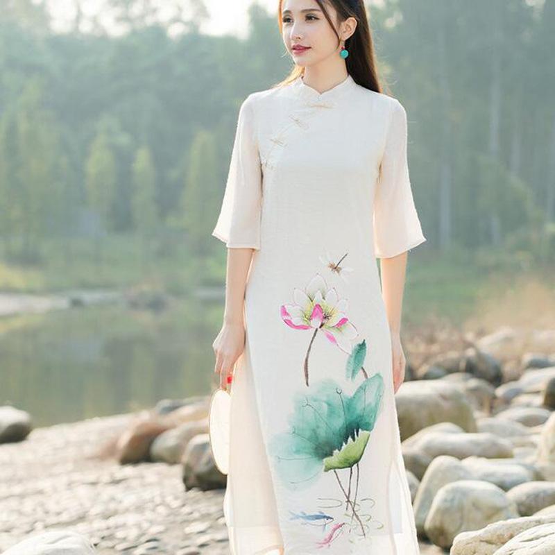旗袍裙新欈9??Z[0_l9356 厂家直销2016春装新款中国风手绘改良旗袍仙女裙连衣裙