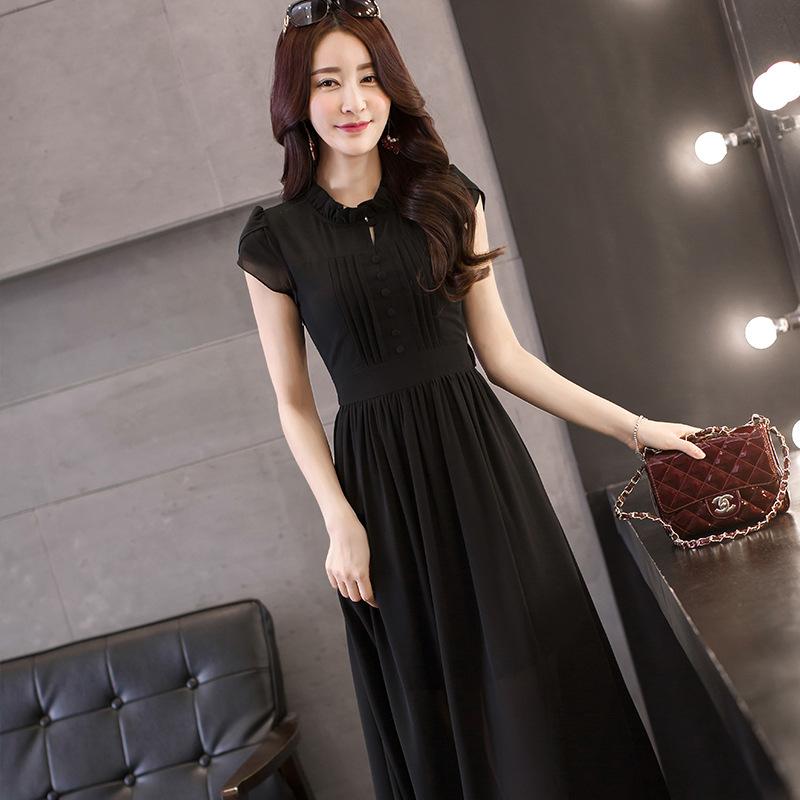 高档女装_高档女装雪纺连衣裙韩版短袖中长款收腰修身纯色性感