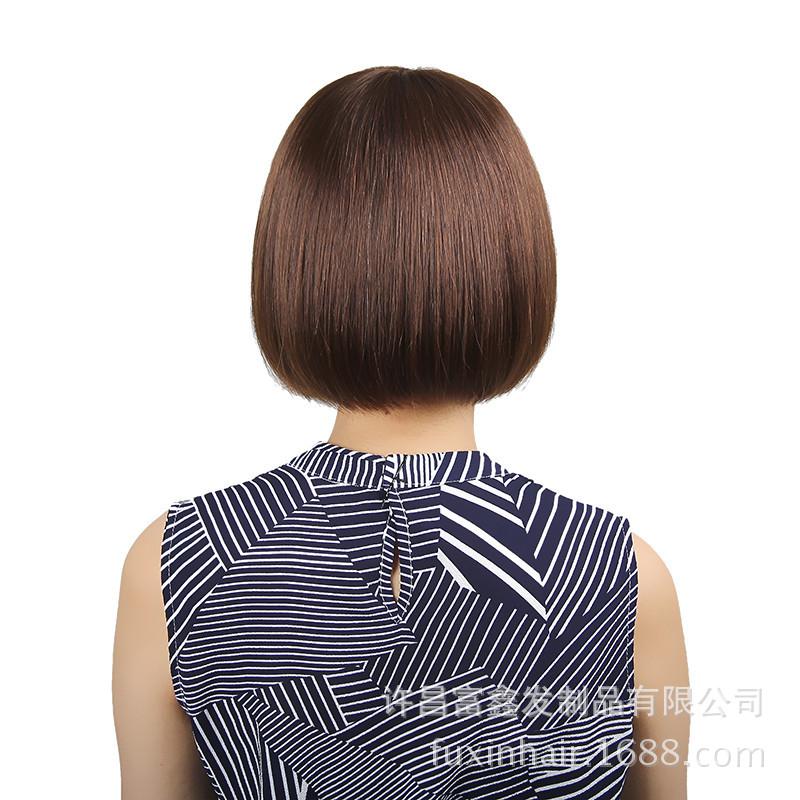 时尚气质齐刘海假发女短发梨花内扣真人发假发头套 厂家直销图片