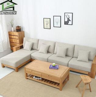 供应 全实木沙发白橡木贵妃拐角木质沙发自由组合三人四人北欧现代家具