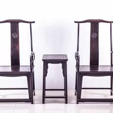 犀牛角官帽椅精品三件套紫光檀高档简约组合椅客厅红高棉家具厂家直销