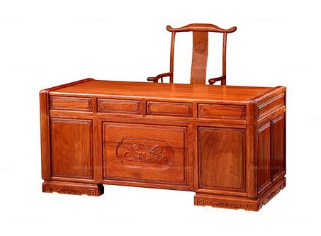 供应传统中式 红木家具 精湛的纯手工雕花 缅甸进口花梨木 书房套装(书桌+书椅)