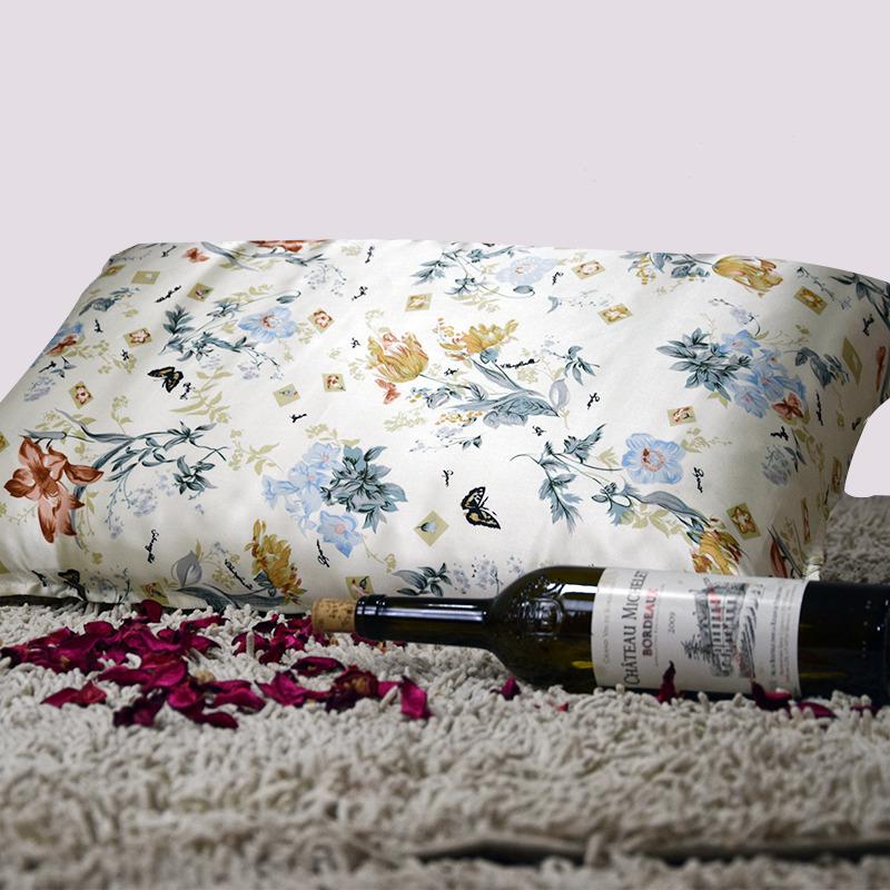 【数白论黄】依格尔 真丝枕巾枕套 100%桑蚕丝绸系带单面单只枕头套 四季单人枕芯套50×76cm