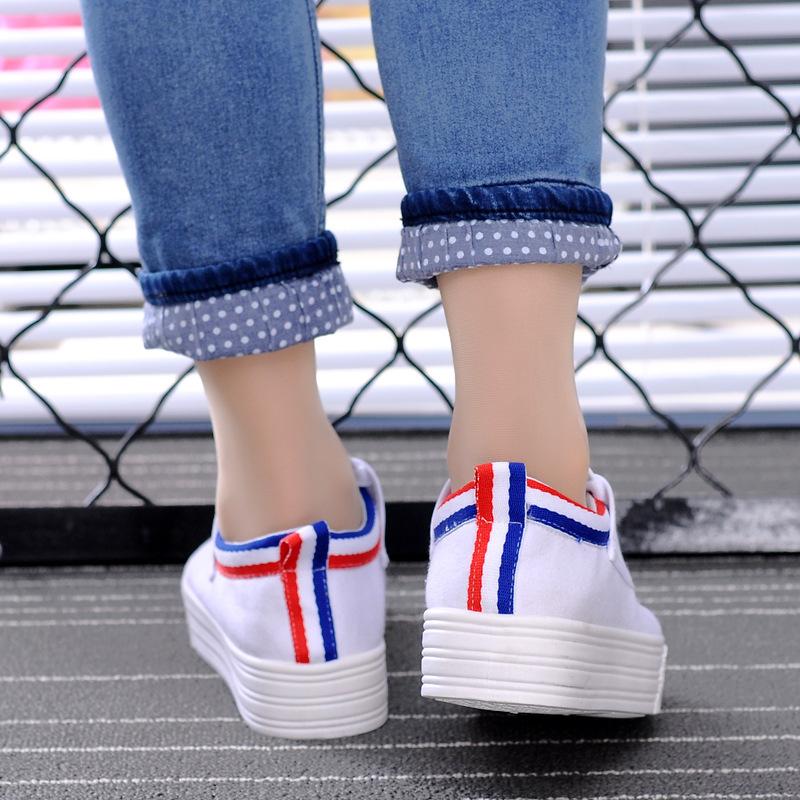 明星同款夏季爆款低帮白色帆布鞋女小白鞋子韩版休闲平底板鞋图片