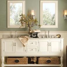 供应 橡木双盆卫浴柜