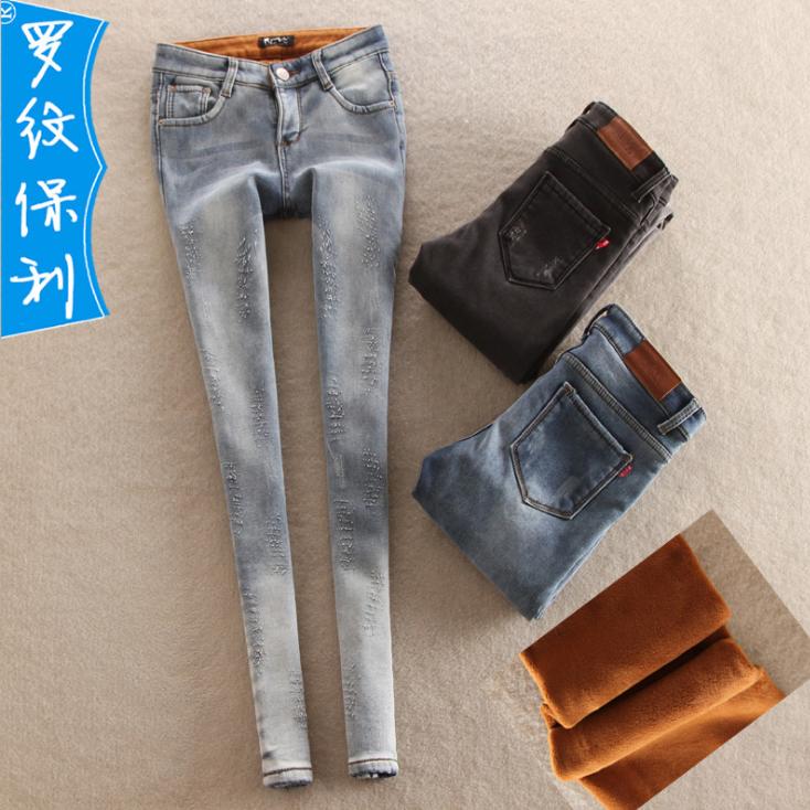 冬季加绒加厚 时尚多色小脚裤 舒适带绒女士中腰铅笔裤批发