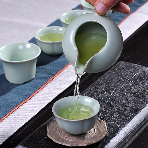 供应大润窑 汝窑茶具礼盒陶瓷茶叶罐茶具套装礼品功夫茶具定制LOGO