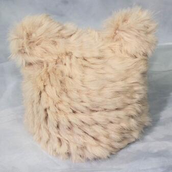 供应 韩国冬季新款甜美可爱猫耳朵兔毛皮草帽女生套头毛线帽护耳冬帽子