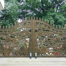 广州别墅铜艺大门阿尔卡诺八字遥控平开门机