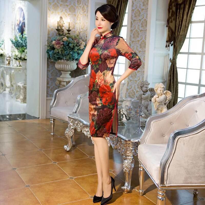 """""""锦时工坊""""丝绒改良式复古旗袍"""