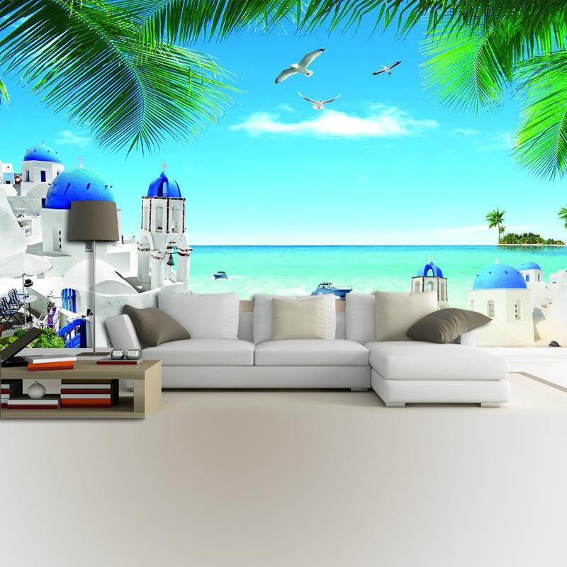 客厅背景墙布高清美图唯美清新海边城堡风景壁纸定制大型无缝壁画