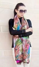 秋冬女棉双面围巾动物羽毛图案彩色印花时尚百搭民族风