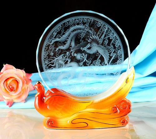 可刻字logo水晶奖杯陶瓷底座企业授权奖牌圆形玻璃纪念品奖品批发