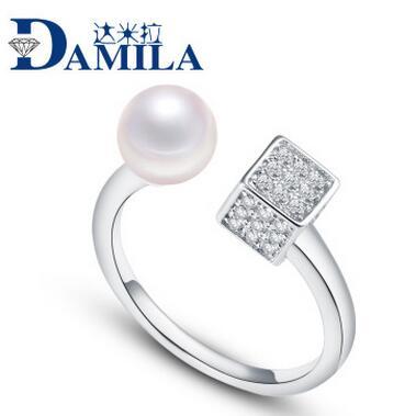 供应 达米拉天然淡水珍珠开口韩式韩版s925纯银银饰戒指