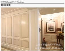上海美式白色木饰面 实木护墙板 奢侈品木饰面 全实木护墙板定制