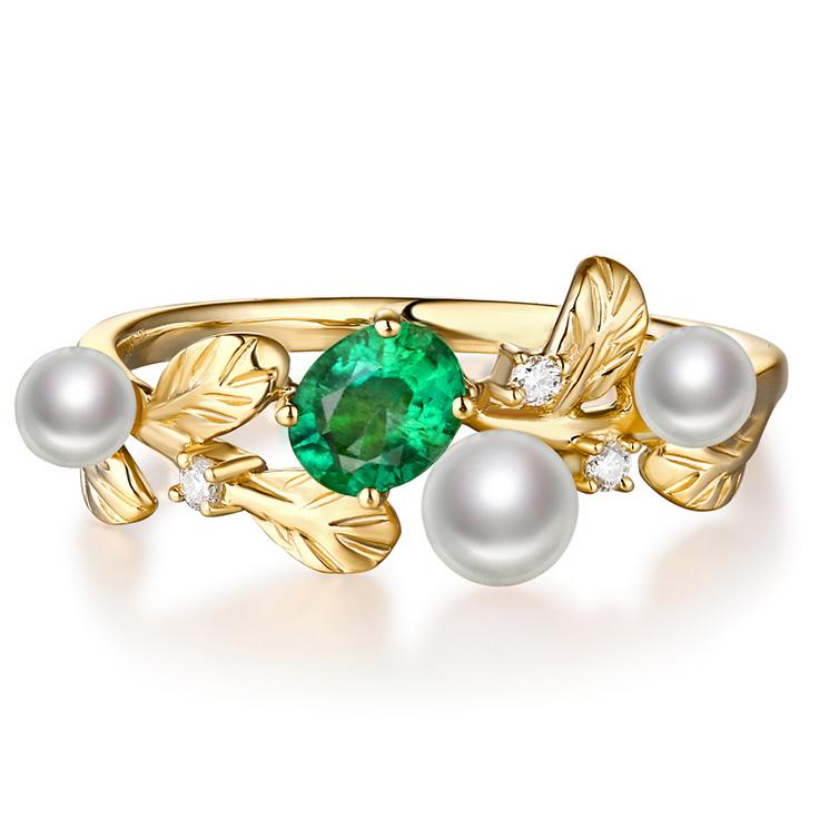 北海珍珠批发  高净度40分***淡水珍珠 5分钻石 18k金彩宝戒指定制