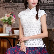 新款民族风女装汉服纯手工鸳鸯花锦棉唐装花瓣袖 短袖中式上衣 菱形白