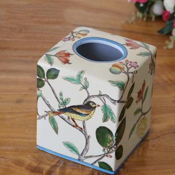 供应创意手绘陶瓷纸巾盒礼品方形抽纸盒纸巾抽家居陶瓷工艺品卷纸器
