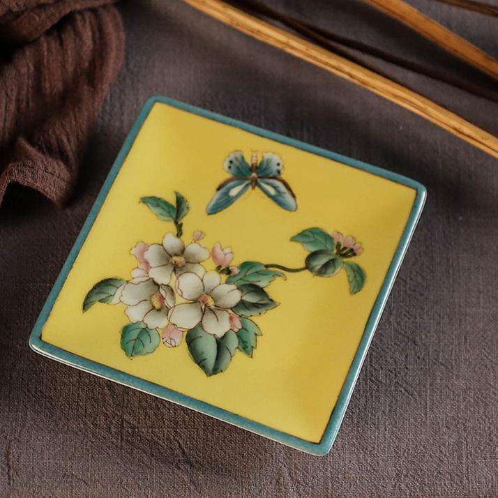 供应新中式手绘陶瓷小碟子咖啡杯配套酒店家居浴室用品肥皂碟通用