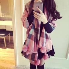 韩版羊毛围巾女冬季 保暖羊绒超大披肩空调两用双面加厚长款