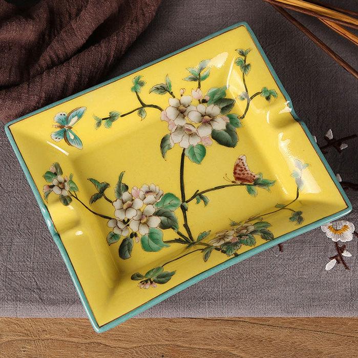 供应中式手绘创意陶瓷方形烟灰缸家居茶几装饰品酒店高档烟碟仿古烟缸