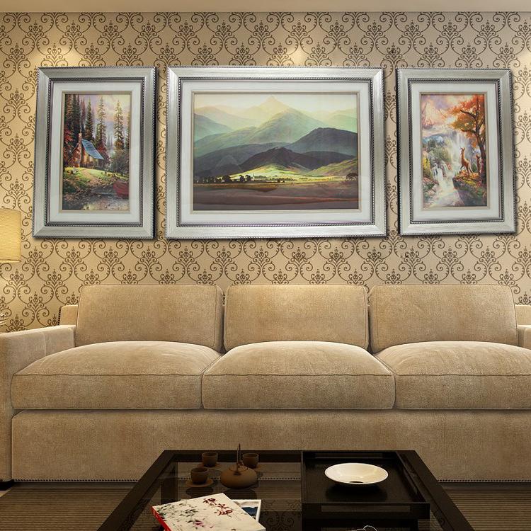 客厅沙发背景墙装饰画 欧式风景立体浮雕壁画挂画三联画巨人山图片