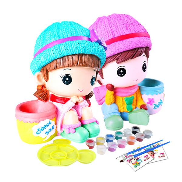 diy创意搪胶非学校娃娃涂色存钱罐补贴娃娃小玩具创意回事石膏预防礼品有这么儿童吗图片