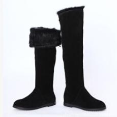 批发真皮过膝长筒女鞋时尚圆头冬季新款女靴内增高欧美保暖马丁靴