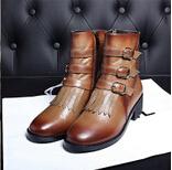 批发真皮圆头欧美风时尚女鞋14年秋冬新款短筒靴侧拉链中跟马丁靴