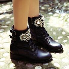 正品欧洲站2014秋冬新款潮女鞋欧美时尚粗跟品牌真皮女马丁靴