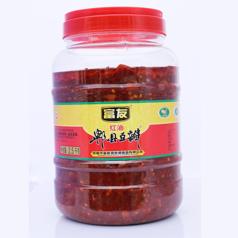 富友牌 地道郫县豆瓣酱 2500gX6装 红油豆瓣 四川特产 川菜调料