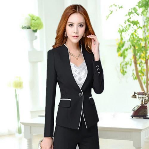 厂家直销新款秋装职业装女装套装韩版修身前台面试金融白领工作服 华阳服装