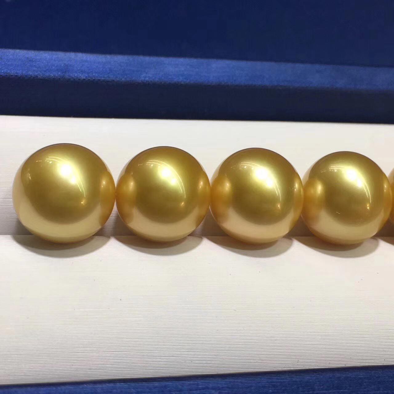 天然深金色無瑕金珠裸珠 12-13mm 色澤好 每個都精選適合做對珠