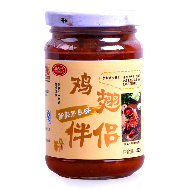三合成 新奥尔良味鸡翅伴侣 辣椒酱 220g 下饭菜 调料调味品