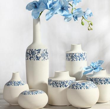 供应陶瓷白色花瓶摆件客厅现代简约青花瓷家居装饰品摆设