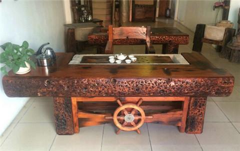 居家首选家具老船木茶桌茶几餐桌办公桌椅子长凳沙发大吧台收银台摆件墙背景博古架